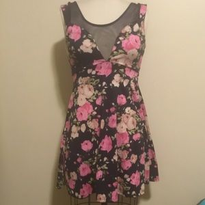 Floral and mesh cocktail dress